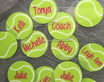 Tennis Bag Tags Quantities of 8+ Tennis Team Gifts Tennis Party Favors Tennis Racket Bag Tags Tennis Coach Gifts Tennis Baby Shower Favors