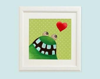 Green monster, Baby nursery art, Baby nursery, Nursery art, Baby nursery wall decor, Baby nursery decor, Monster wall art, Monster theme