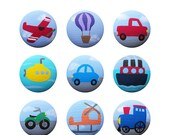 Hand Painted Knob - Children's Custom Hand Painted Transportation Vehicle Drawer Knobs Pulls or Nail Covers for Kids