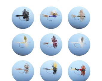 Hand Painted Knob - Children's Custom Hand Painted Fly Fishing Lures Classic Tied Flies Drawer Knobs Pulls or Nail Covers for Kids