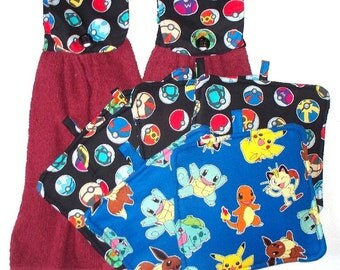 Pokemon Balls Hot Pads or Fabric Topped,Single T-Towels,Your Choice,Heavy Duty,Thick Pot Holders,Kitchen Towels,