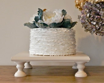 """14"""" Cake Stand Square Antique Ivory Wedding Rustic Cupcake Stand Wedding Cake Topper E. Isabella Designs Featured In Martha Stewart Weddings"""