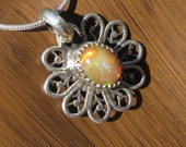 Honeycomb Ethiopian Opal - Little Sterling Silver Filigree Pendant Charm with Snake Chain