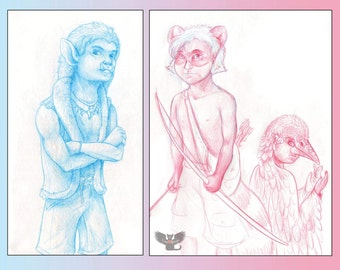 """Custom Drawing """"Animal Child"""" character sketch, made to order, unique to you"""