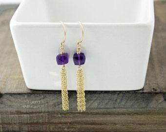 Amethyst Earrings, Tassel Earrings, Gold earrings