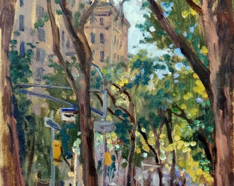 Along Central Park on Fifth Avenue, NYC. Oil on Panel, 18x10 Impressionist Cityscape, New York City Oil Painting, Signed Original Fine Art