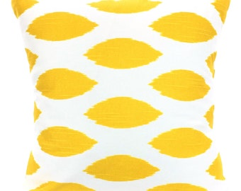 Yellow Pillow Covers, Decorative Throw Pillows, Cushions, Yellow and White Oval Ikat Euro Sham, Couch Pillows, Chipper One or More ALL SIZES