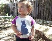 Bunny | Organic Kids Cap Sleeve Raglan | Toddler Short Sleeve Shirt | Babies Natural Cotton Shirt | Screenprinted | Purple | Hipster