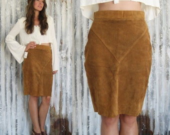 Vintage 70's Suede Mini Skirt / Deadstock Tan Leather Skirt / Boho Hippie Western Women S M