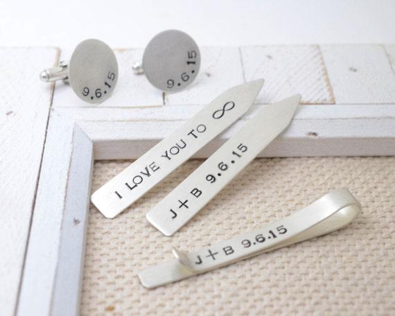 Collar Stays, Tie Clip, Cufflinks Gift Set - Personalized Sterling Silver Men's Jewelry - Wedding Keepsake Groom Best Man - Anniversary Gift