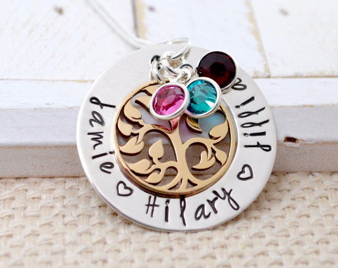 Mother's Necklace Personalized, Necklace for Mom, Mother's Gift, Hand Stamped Jewelry, Custom Necklace, Mom, Mommy, Mother