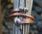 Copper and Silver Ring | Mixed Metals Ring. Bimetal Ring. Wraparound Ring. Handforged Artisan Unisex Rustic Ring Silver Drops. Made any Size