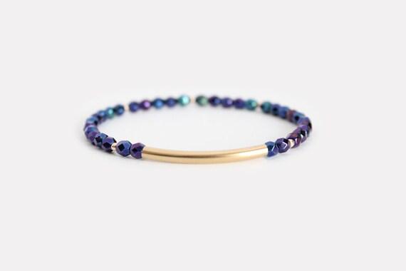 Iridescent Blue Beaded Bar Bracelet - Gold Filled or Sterling Silver - Nuelle