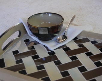 Mosaic Basket Weave Stained Glass Serving Tray