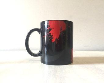 Black ceramic mug, retro black mug, 80s design mug, 80's retro mug, eighties mug, vintage mug, vintage china mug, vintage ceramic mug, retro