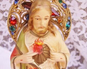 SALE-Vintage Rhinestone Sacred Heart Jesus Christ Chalkware Statue-Altar Religion Catholic