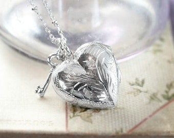 Small Sterling Silver Heart Locket Necklace, Vintage Pendant w/ Key Charm on Special Beaded Chain - Heart and Key