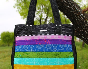 Patchwork Rainbow Super Tote with Tattoo interior lining