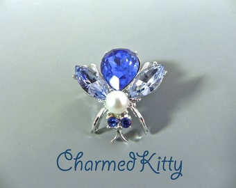 Vintage Bee Brooch Sparkling 50s Blue Fly Bug Pin - on sale