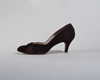 Vintage 1940s Brown Suede Shoes - Rhythm Step - Fall Fashions Size 7 8 N