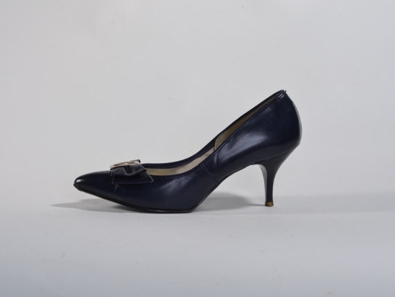 Vintage 1960s High Heel Shoes - Blue Leather Stiletto - Mad Men Fashions Size 7