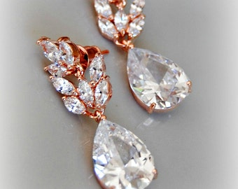 Rose Gold Crystal Earrings, Swarovski Bridal Earrings, Cubic Zirconia Earrings - LUMIERE ROUGE