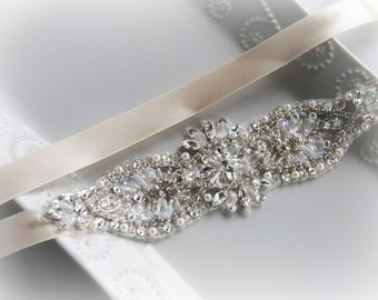 Skinny Crystal & Pearl Sash, Skinny Wedding Belt, Rhinestone Bridal Sash, Bridal Sash, Ivory, Diamond White, Champagne, Custom Colors - ELLE