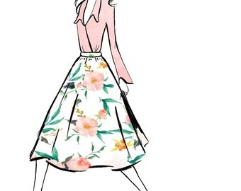 Watercolour fashion illustration Titled Florals