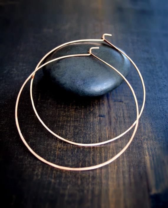 Rose Gold Hoop Earrings Thin Pink Gold Hoops 14K Med