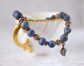 Matte Lapis Lazuli Bracelet Rustic Lapis Bracelet Stretch Bracelet Sapphire Stone Bracelet Bohemian Dark Blue Bracelet Antique Copper Charm