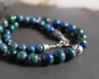 Statement Chrysocolla Necklace Blue Green Azurite Stone Necklace Emerald & Lapis Blue Necklace Gemstone Beaded Sterling Silver Gift Women