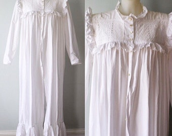 Vintage White Cotton Nightgown, Cotton Nightgown, 1980s Nightgown, Country, Cottage, Vintage Cotton Nightgown
