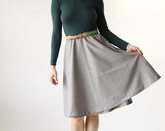 Hunter Green and Gray Circle Skirt Dress w/Pockets - Eco Friendly Womens Apparel by Tammy Jo Fashion