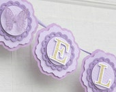 butterfly banner, purple butterfly party decorations, purple nursery decor, baby's name banner, 1st birthday party, girl's party decor