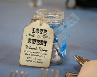 Tags For Wedding Favors, Love Is Sweet Tags For Candy Favors, Tags For Honey Jar Favors, Jam Jar Favor Tags  Rustic Vintage Inspired