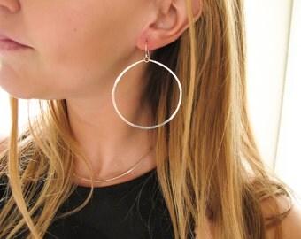 Large Gold Hoop Earrings - Extra Large Hoop Earrings 14K Gold Fill, Rose Gold, Sterling Silver Dangle Hoop - Large Silver Hoops - HYPERBOLE