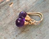 Purple amethyst earrings sterling silver February birthstone jewelry for her wire wrapped gemstone earrings  Sarah