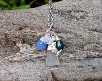 Mermaid Necklace - Beach Boho Jewelry from Hawaii - Mermaid Jewelry - Sea Glass Necklace - Seaglass Jewelry made in Hawaii - Boho Necklace