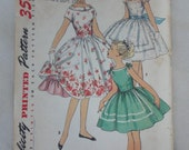 1950s Girls' Party Dress, Full Circle Skirt- Vintage 50s Simplicity Sewing Pattern 1560- Size 8 Breast 26 USED, Flower Girl Dress