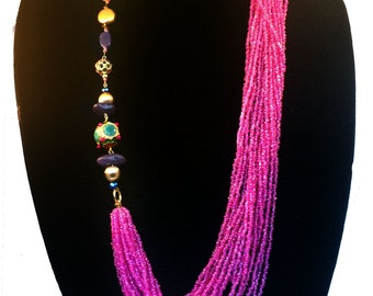 Layering Long necklace,Hot pink multistrand Kundan Necklace,drape scarf Necklace,Modern fusion Statement Jewelry by TANEESI