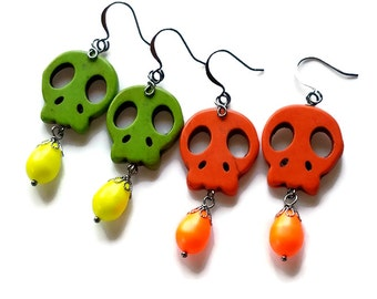 Sugar Skull Earrings, Halloween Earrings,  Day of the Dead Jewelry, Dia de los Muertos, Green, Orange Neon