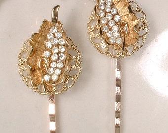 OOAK Vintage Gold Rhinestone Leaf Bridal Hair Pins, Rustic Chic Country Crystal Bobby Pin Set 2, Bridesmaid Gift Autumn Wedding Hair Clips