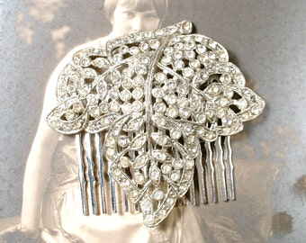 Art Deco Hair Comb, Art Nouveau Pave Rhinestone Flapper Bridal Leaf Hair Comb Silver Vintage Wedding Dress Clip OOAK Haircomb Downton Abbey