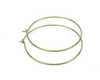 Niobium Hoop Earrings Gold Extra Large Niobium Hoops, Nickel Free Hoops, Hypoallergenic Hoops For Sensitive Ears, Anodized Niobium