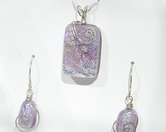 Frosty Lavender Glass Pendant and Earring Set with Swirl Sterling Silver Wirewrap - Cyberlily