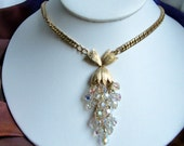 Retro reinvented crystal pendant necklace