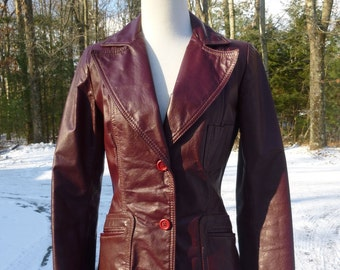 Vintage Oxblood Leather Jacket Blazer