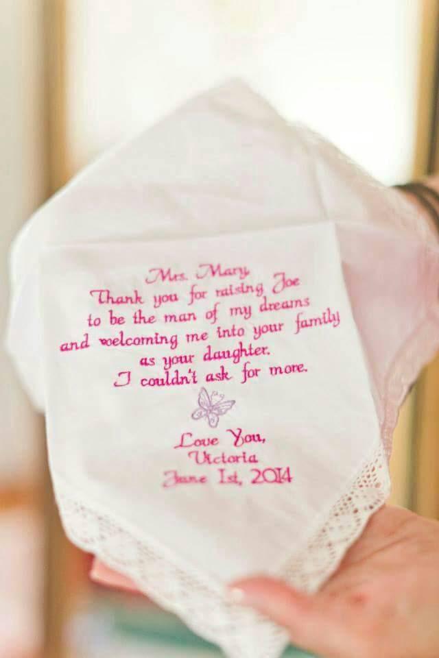 embroidered wedding handkerchief your own saying wedding