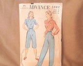 SALE...Vintage 40's Shirt and Pants Pattern, Advance Pattern 8582, Vintage Size 16, Bust 34 Waist 28, Two Blouse Styles, Two Pants
