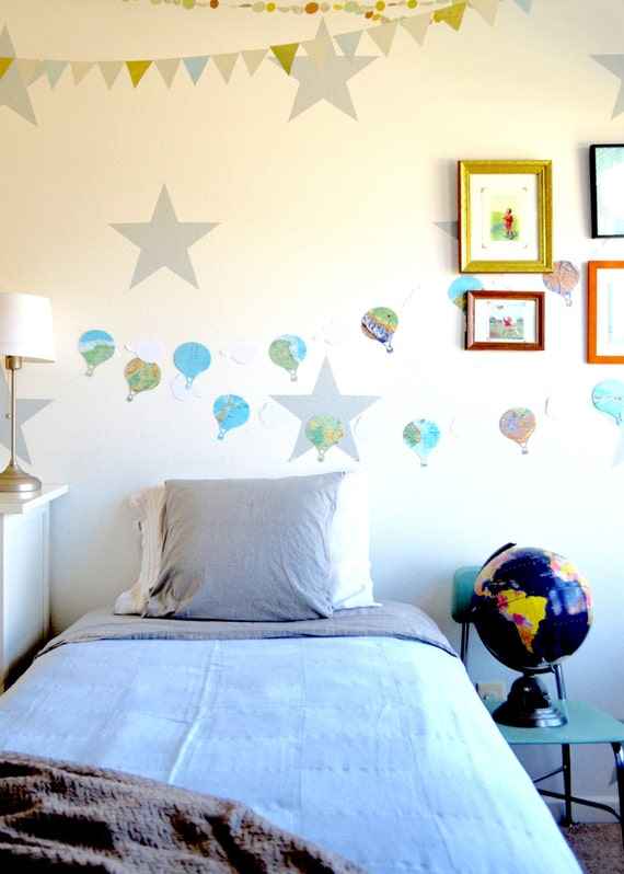 Hot Air Balloons and Clouds Vintage Map Garland, classic adventure party decor